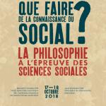Que faire de la connaissance du social ? Ateliers doctoraux LdA : Besançon, 17-18 octobre 2018